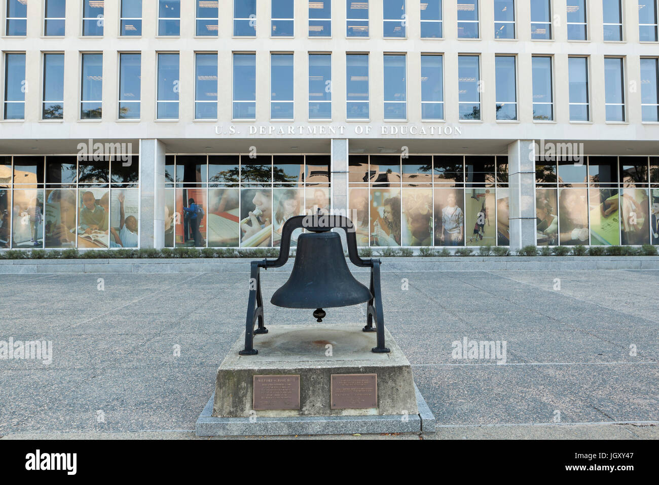 Milford School Bell memorial in front of US Department of Education building - Washington, DC USA - Stock Image