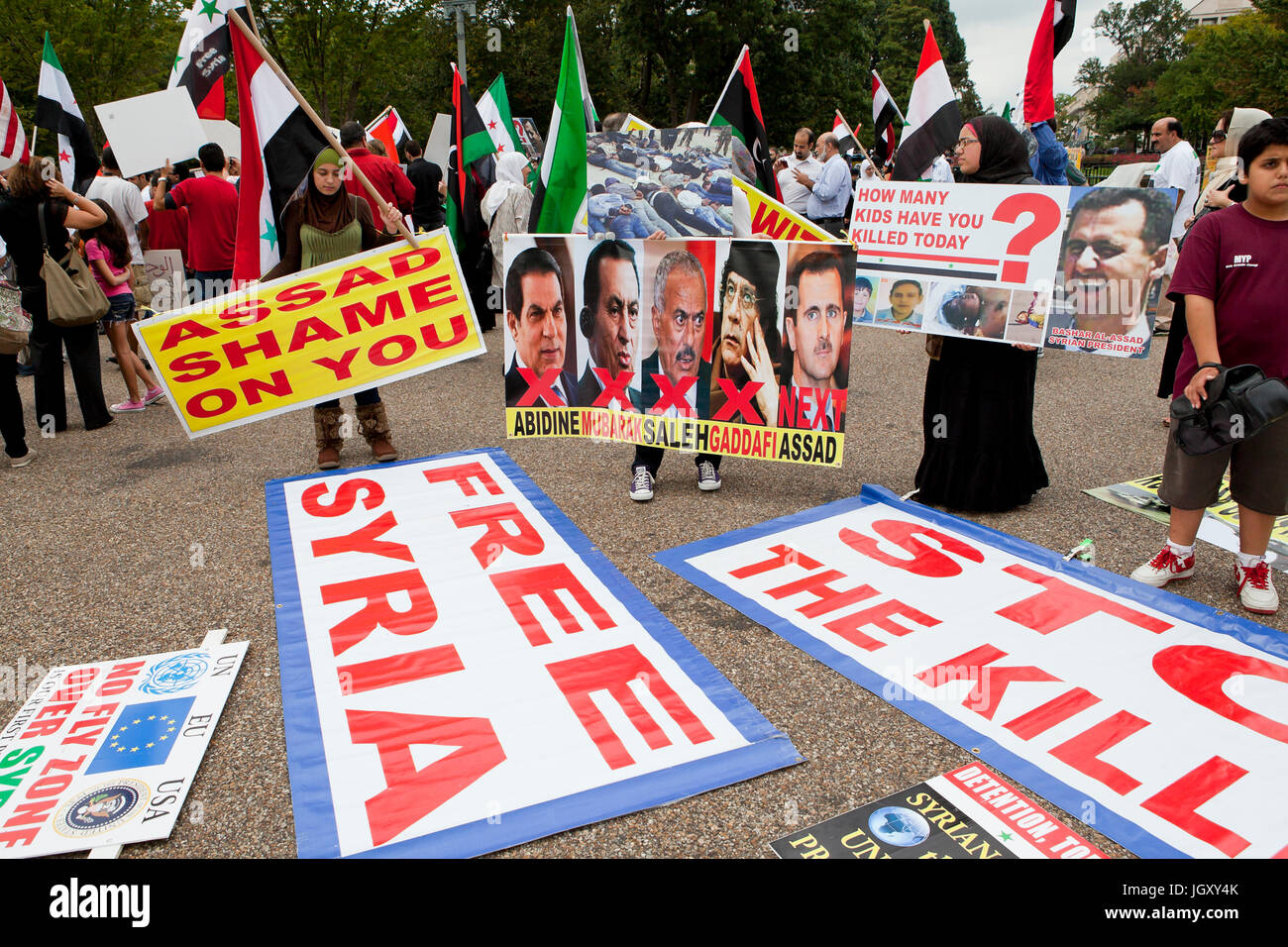 Washington, DC USA - 24th September, 2011: Syrian Americans protesting against Syrian president Bashar al-Assad - Stock Image