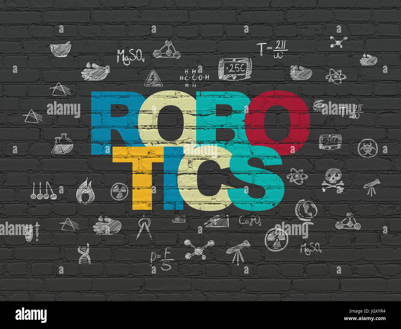 Science Concept Robotics On Wall Background Stock Photo 148110008