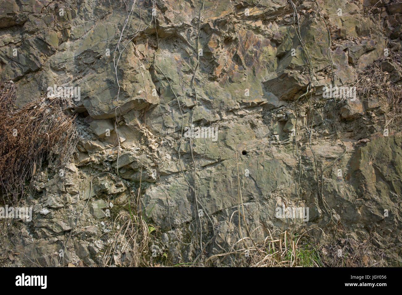 Man Made Sedimentary Rockface Showing Broad And Narrow Bedding