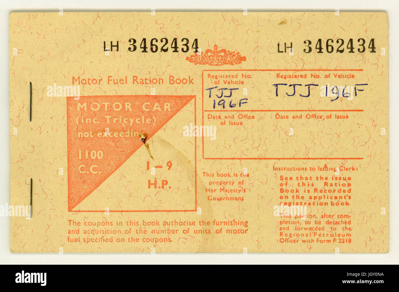 British Motor fuel ration book, for a motor car 1100 c.c.1973 Stock Photo