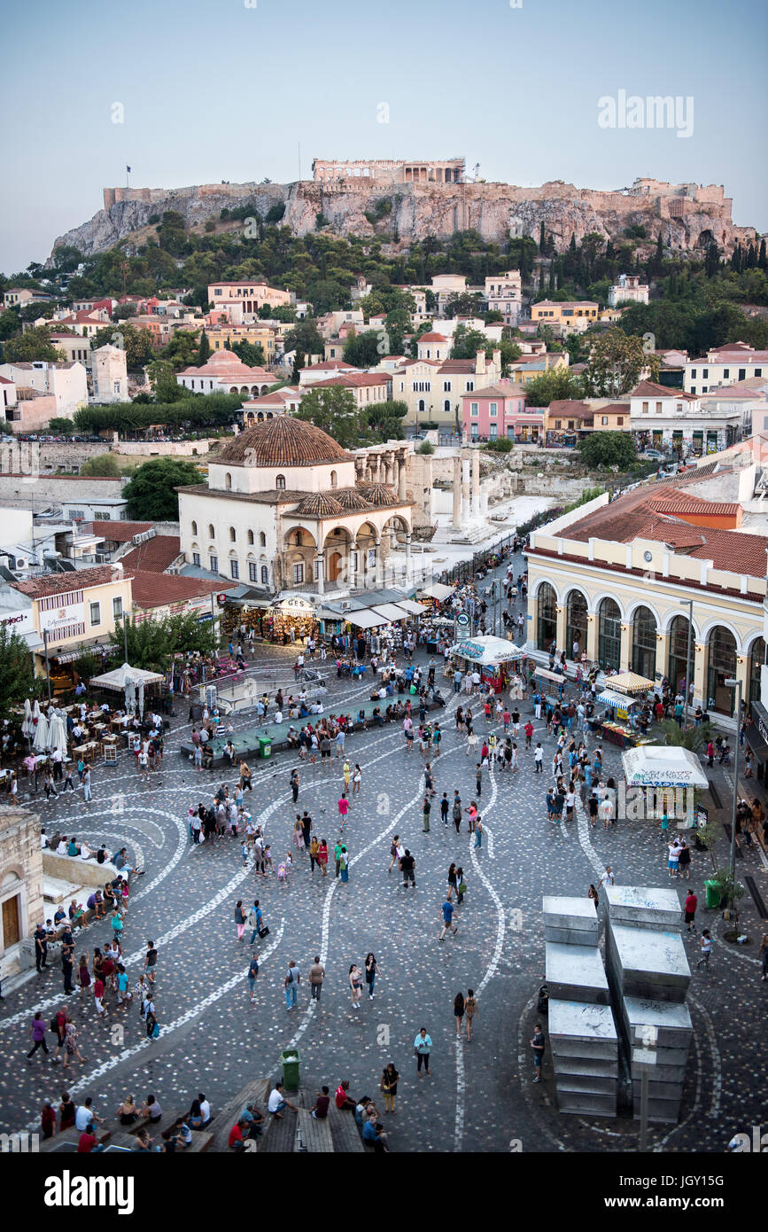 Overview of Monastiraki Square in Athens and the Acropolis of Athens in the background. - Stock Image