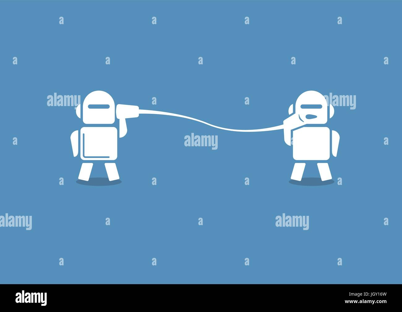 Robo advisor concept as vector illustration. Two robots communicating with each other on blue background. Stock Vector
