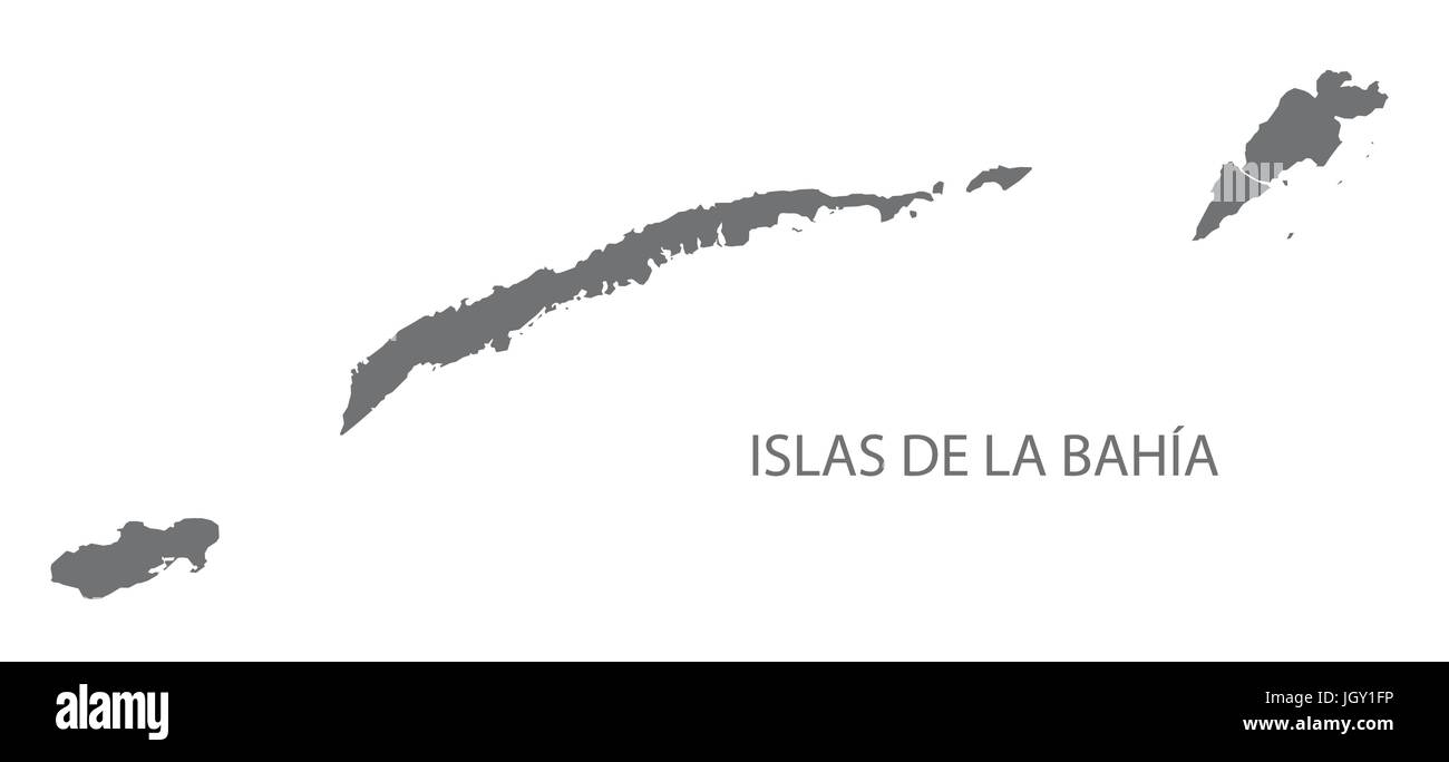 Islas de la Bahia Honduras map grey illustration silhouette Stock Vector