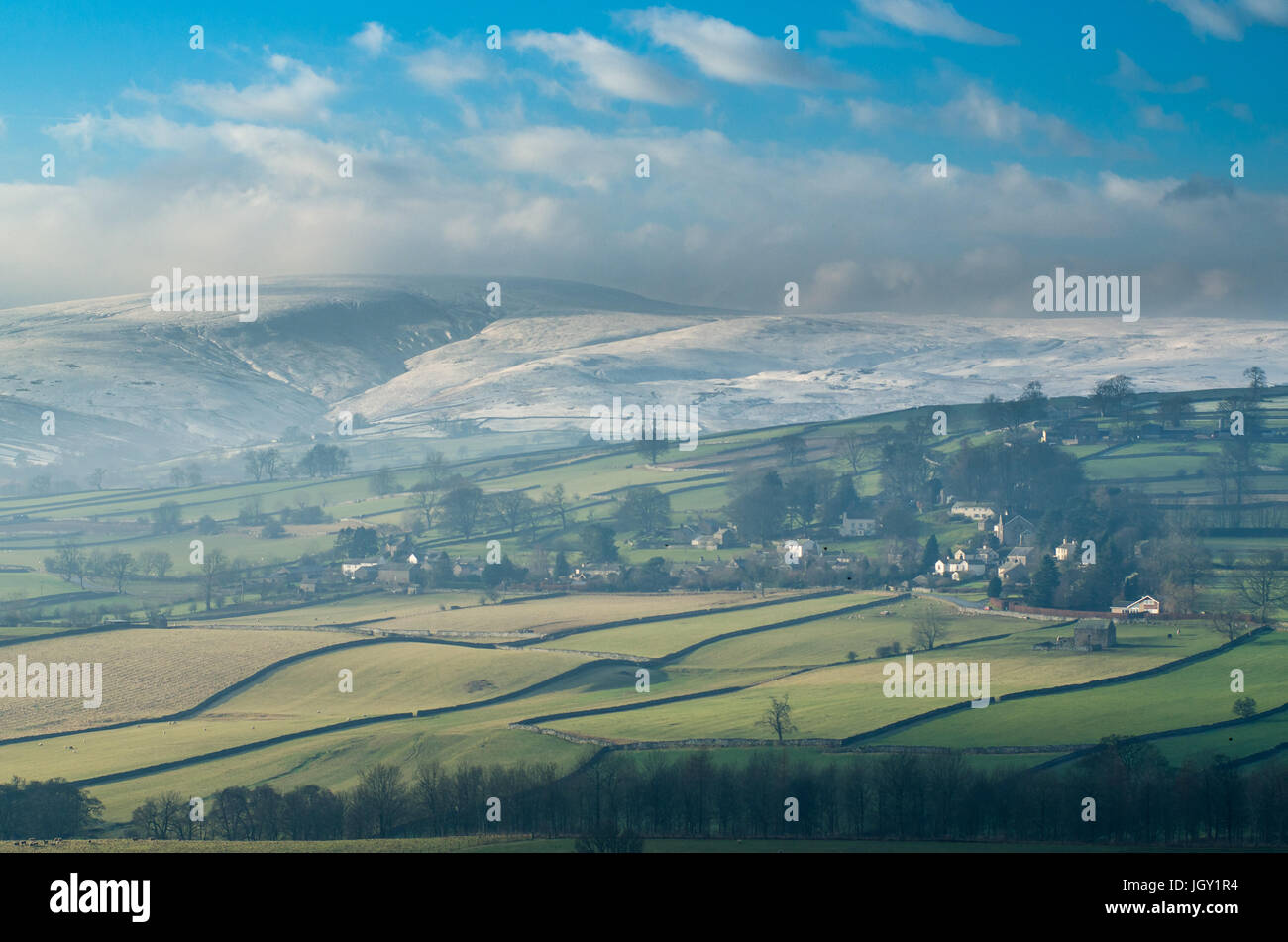 Landscape view of Helton village, The Lake District, UK - Stock Image