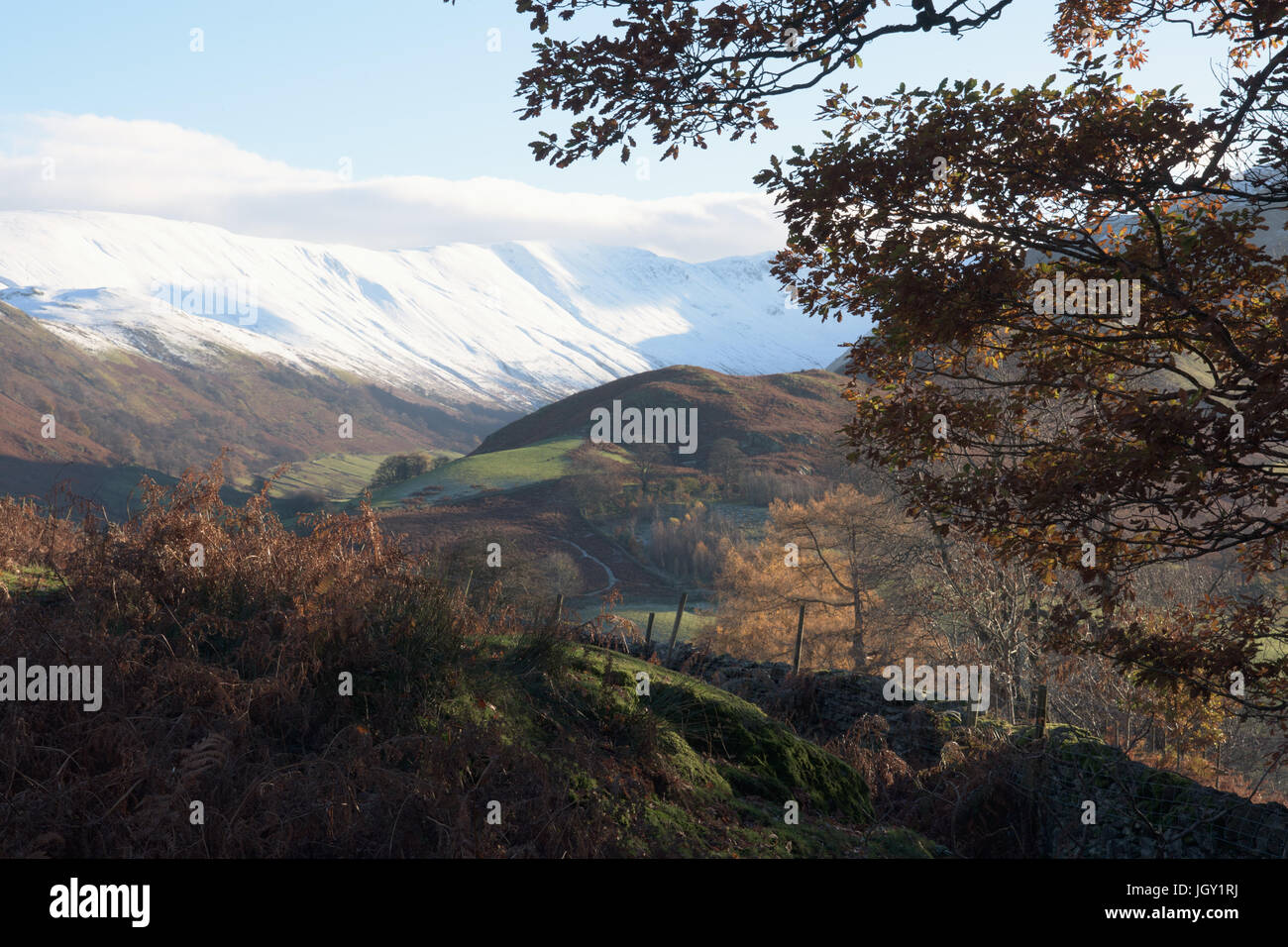 Snow capped mountains above martindale, The Lake District, UK - Stock Image
