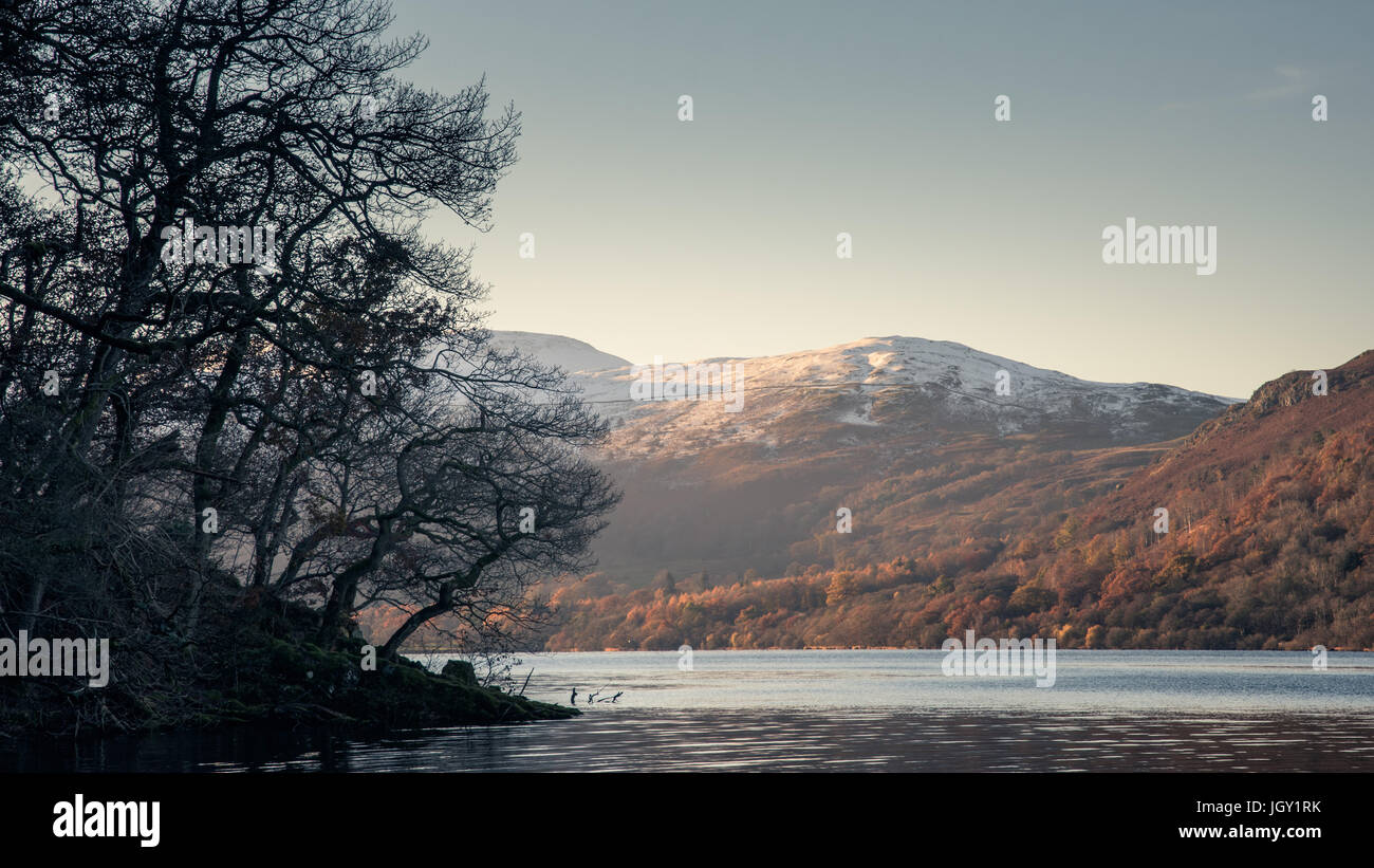 Snow capped mountains at Ullswater, The Lake District, UK - Stock Image