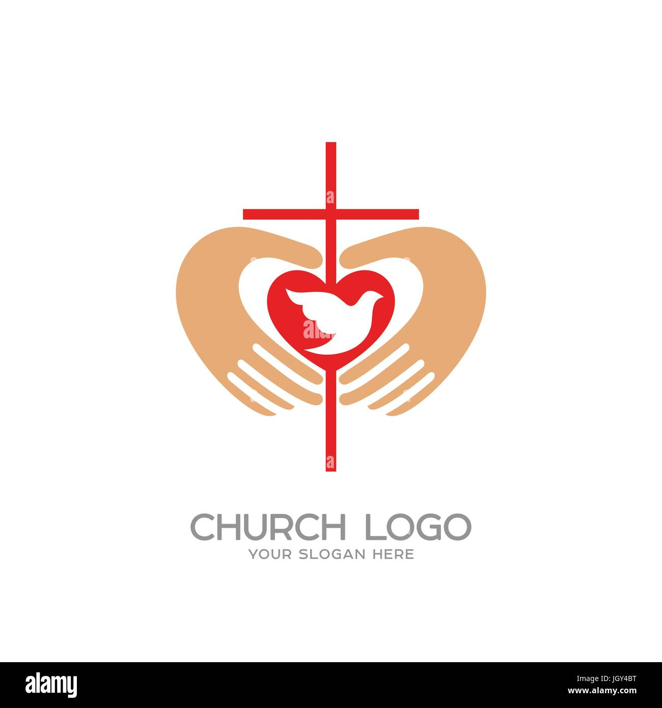 Church logo christian symbols the cross and the hands of christ church logo christian symbols the cross and the hands of christ the heart and the dove altavistaventures Images