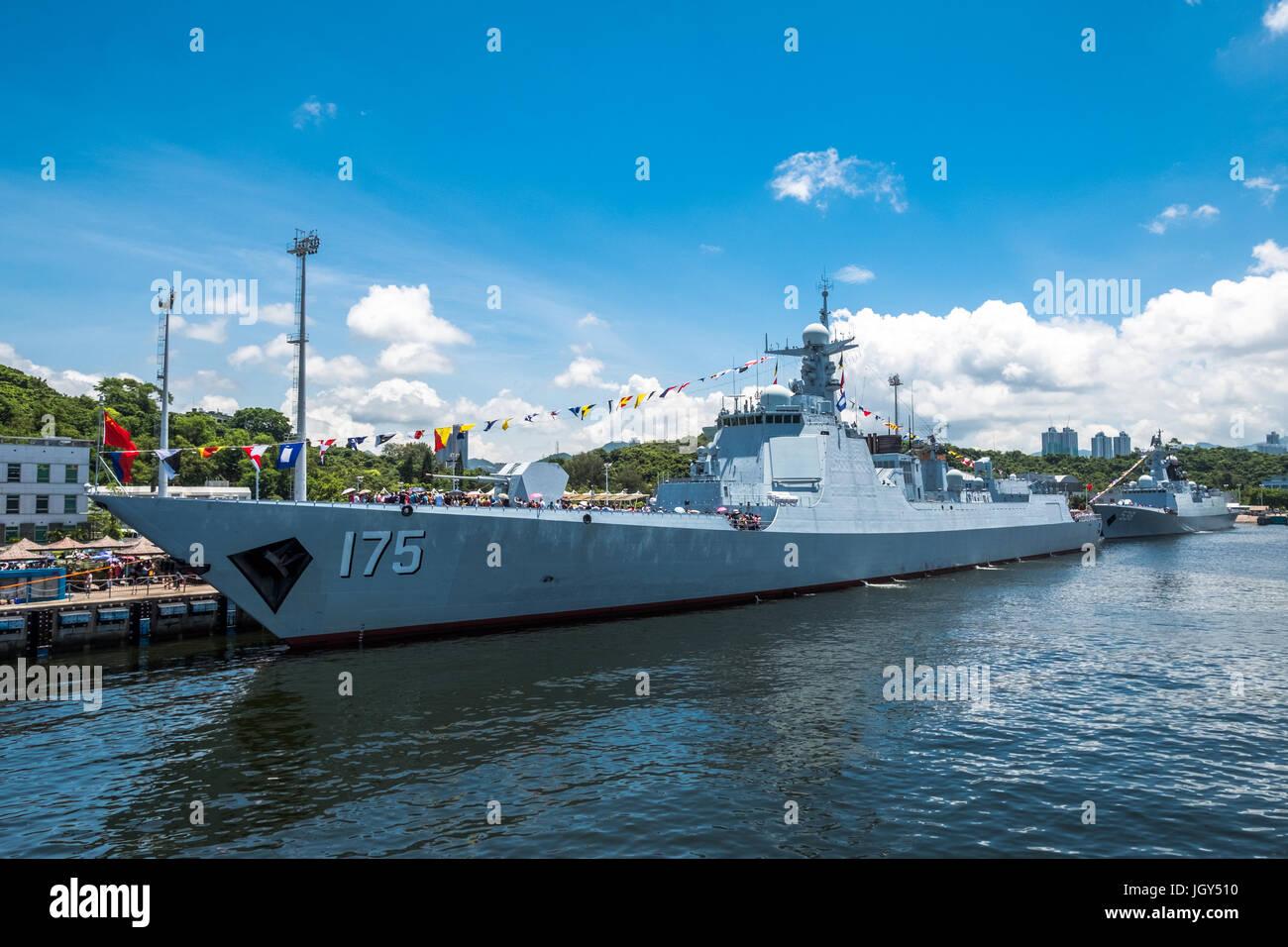 Ngong Shuen Chau Naval Base, Hong Kong  - June 9, 2017 : Yinchuan (number 175) missile destroyer visited Hong Kong Stock Photo
