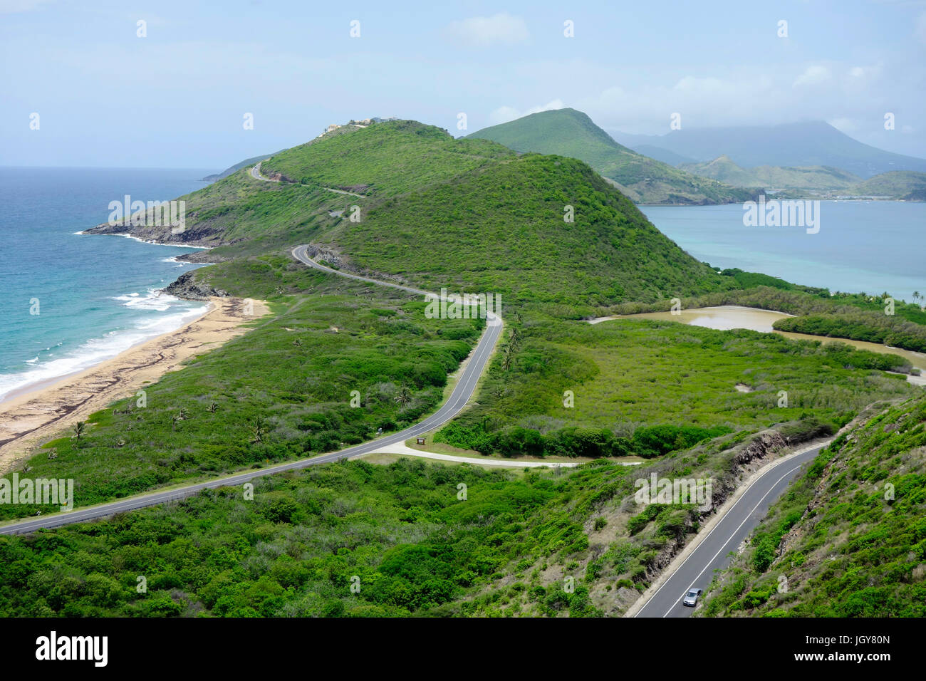 Caribbean aerial from Turtle Bay on St. Kitts, St. Kitts and Nevis, Leeward Islands, West Indies, Caribbean. - Stock Image
