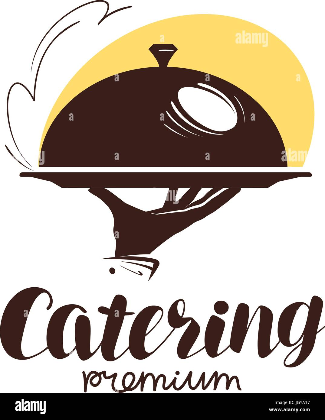 Catering service logo icon or label for design menu