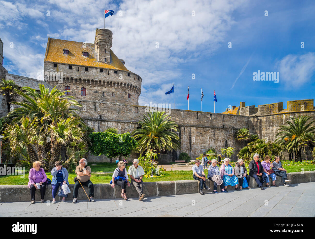 France, Brittany, Saint-Malo, harbourside rampards at Chateau Gaillard - Stock Image
