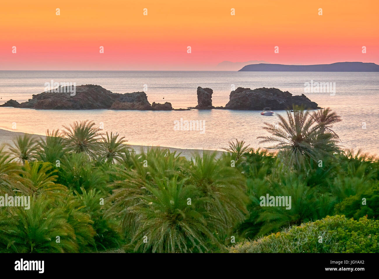 Dusk before sunrise at Vai Beach, Crete Island, Greece - Stock Image