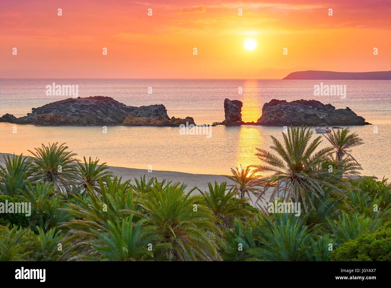 Sunrise at Crete Island - Vai Beach, Greece Stock Photo