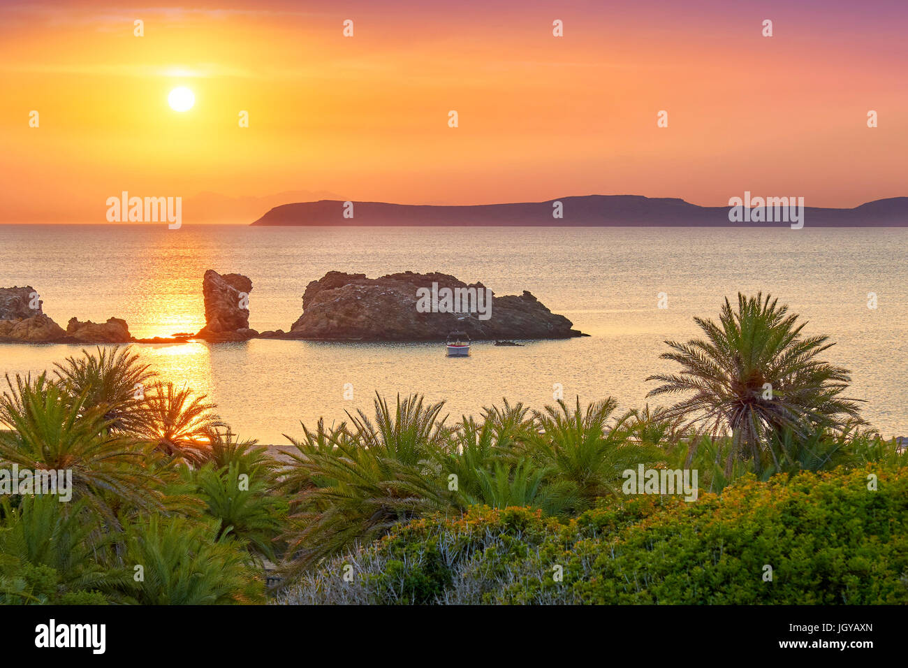 Vai Beach at sunrise, Crete Island, Greece - Stock Image