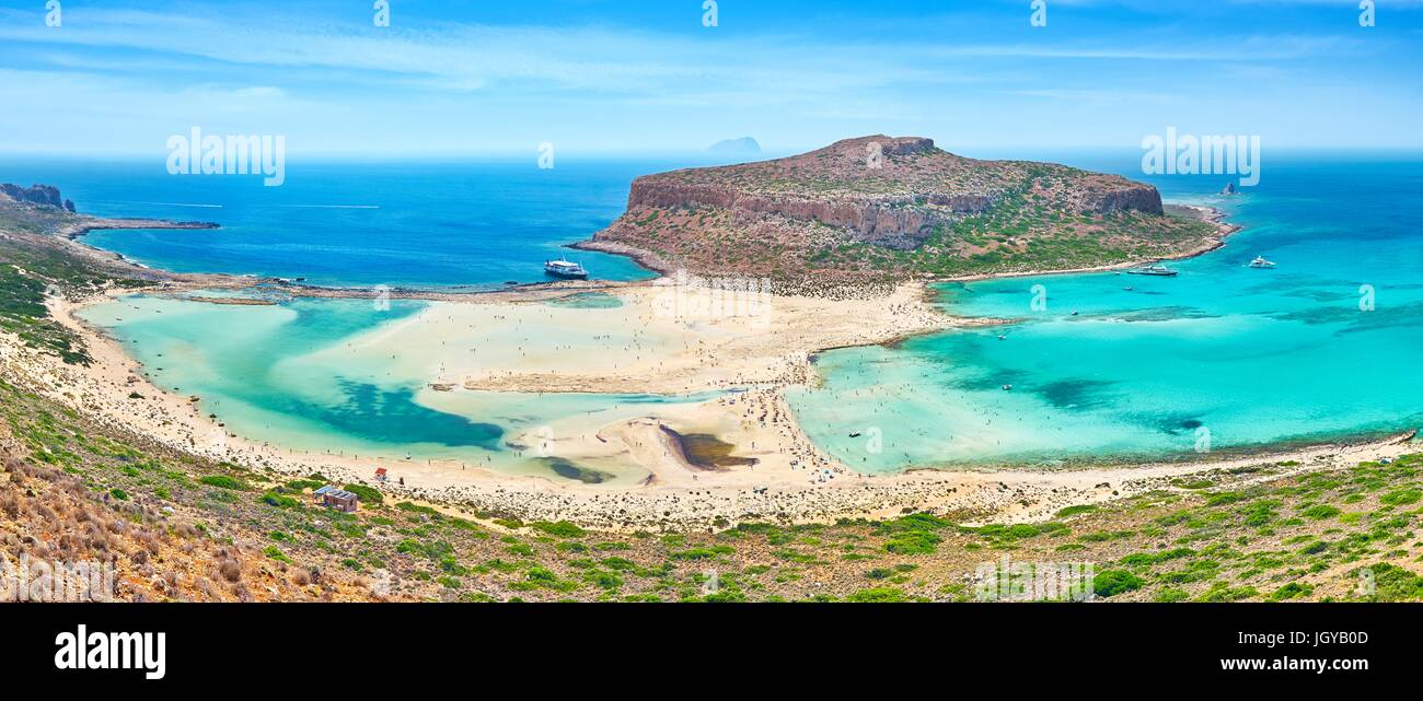 Panoramic view at Balos Beach, Crete Island, Greece - Stock Image