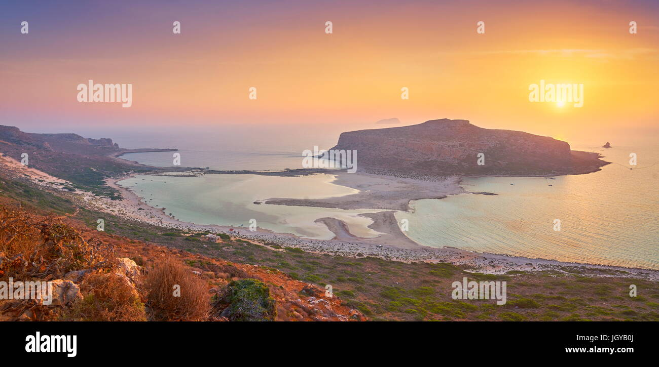 Panoramic sunset at Balos Beach, Gramvousa Peninsula, Crete Island, Greece - Stock Image
