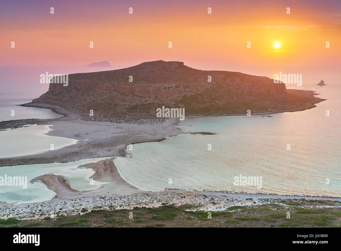 Sunset at Balos Beach, Gramvousa Peninsula, Crete Island, Greece - Stock Image