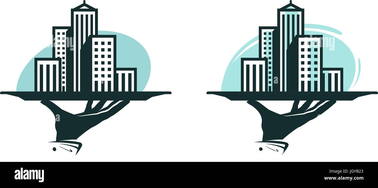 City logo. Real estate service, construction, building icon or label. Vector illustration Stock Vector