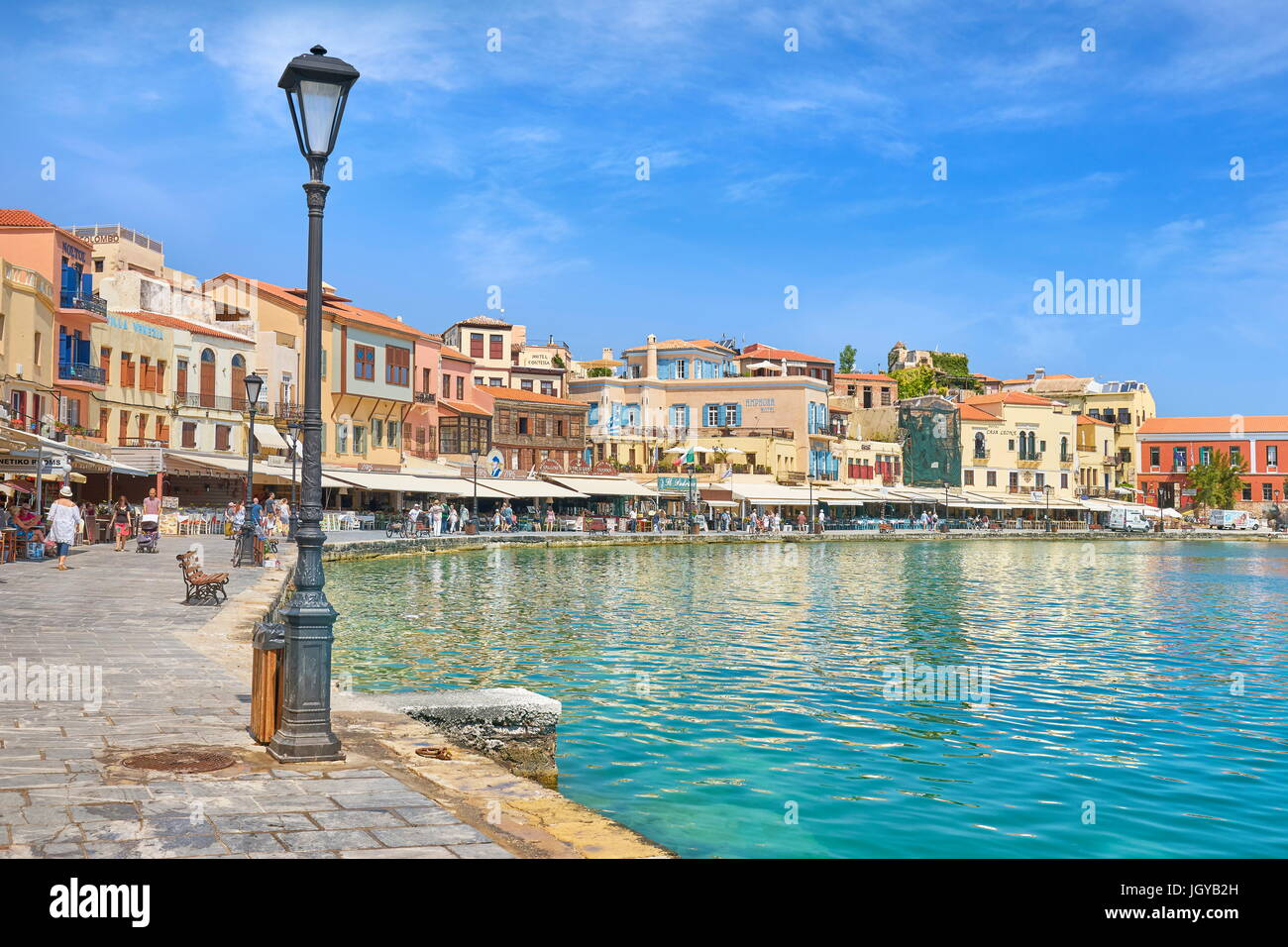 Venetian harbour of Chania old town, Crete Island, Greece - Stock Image