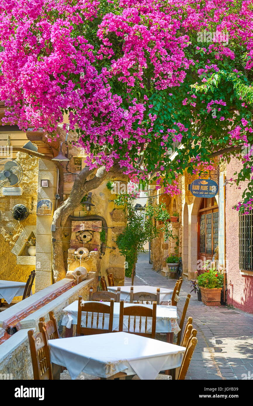 Restaurant at Chania Old Town, blooming flowers, Crete Island, Greece - Stock Image