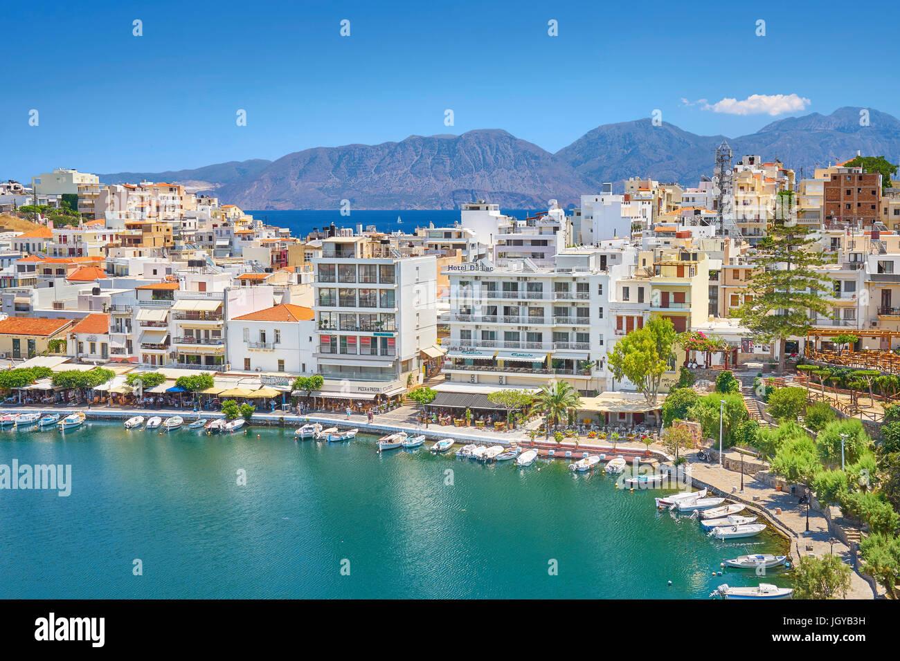 Lake Voulismeni, Agios Nikolaos, Crete Island, Greece - Stock Image