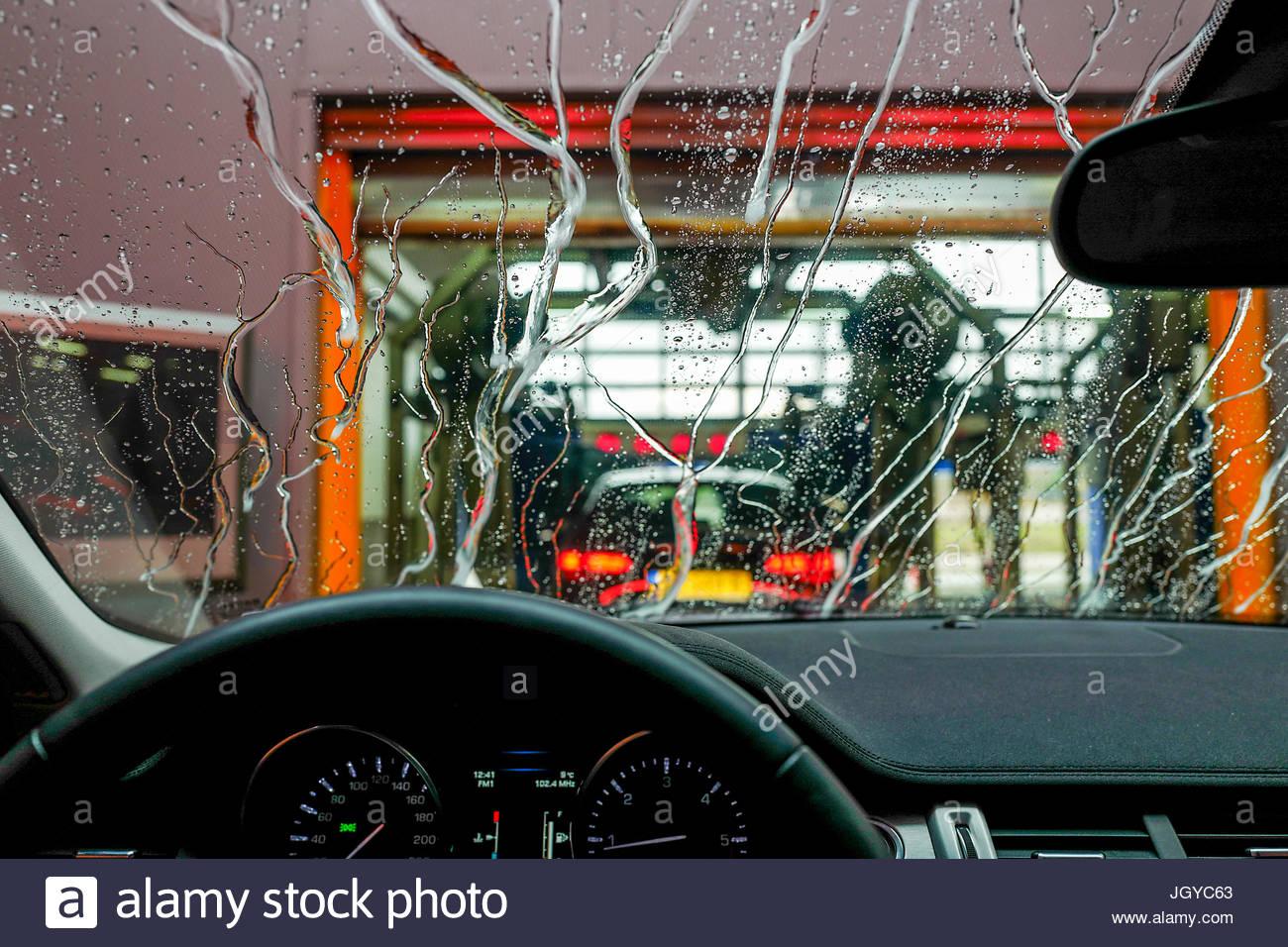 Carwash through a window Stock Photo