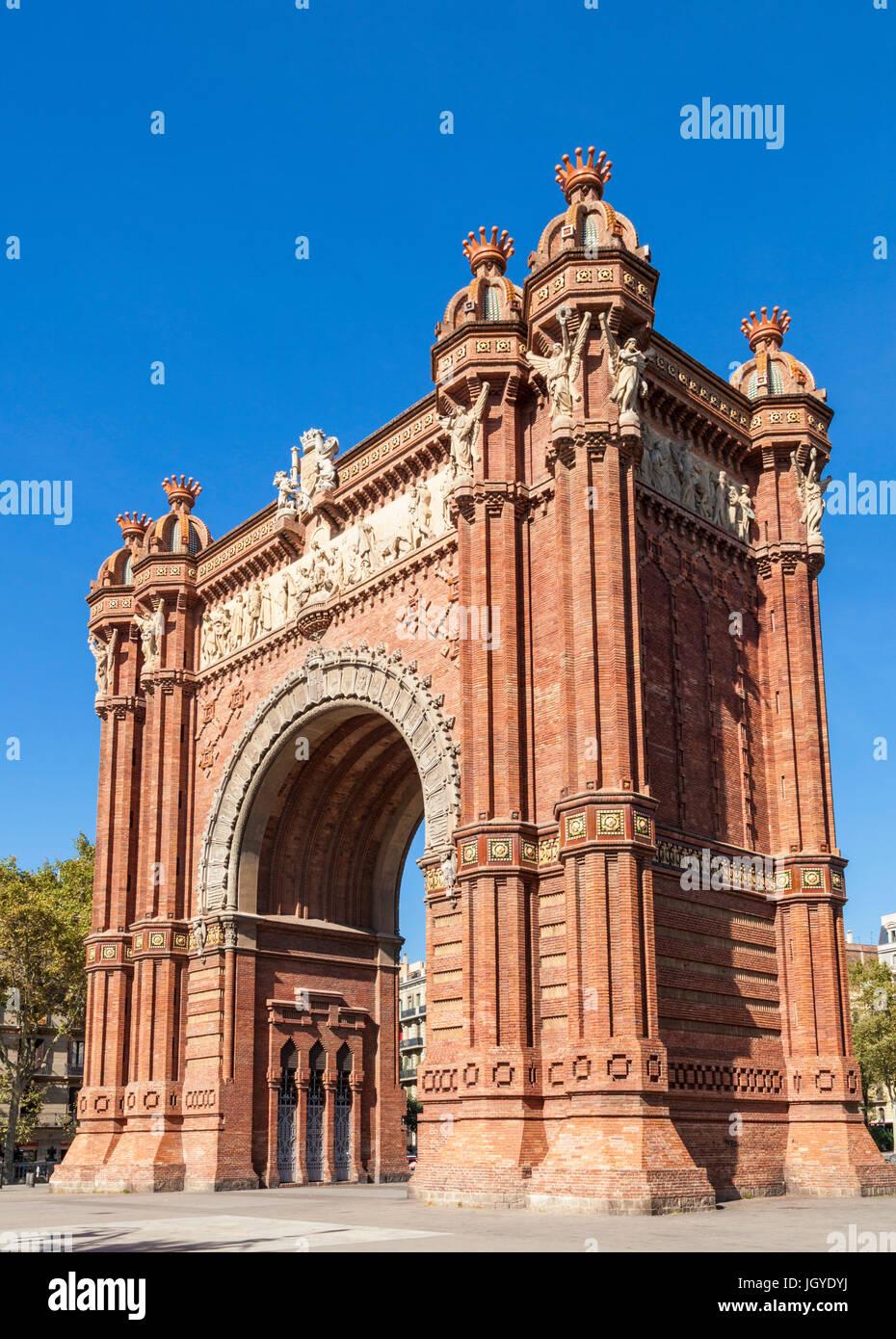 Barcelona Catalunya The Arc de Triomf de Barcelona Arco de Triunfo de Barcelona triumphal arch Barcelona arc de Stock Photo