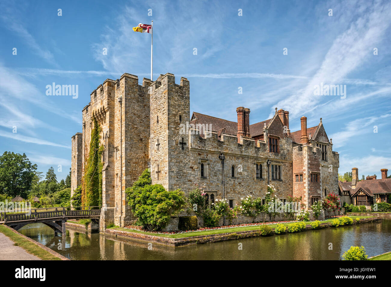 Hever, Kent, England - June 18, 2015. Hever castle as seen on 18 of June, 2015. The oldest part of the castle dates Stock Photo