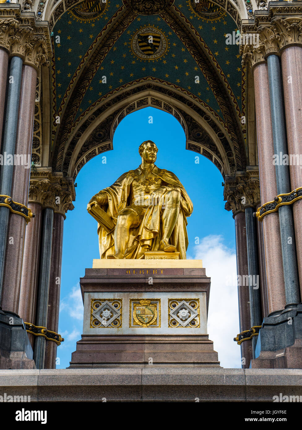 The Albert Memorial, Kensington Gardens, London, England - Stock Image