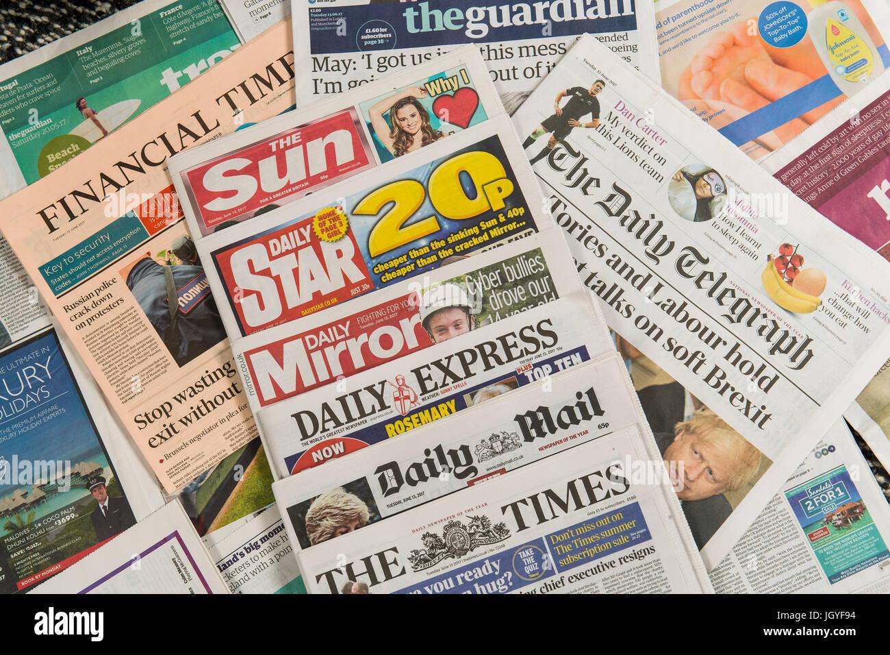 UK British Newspapers Stock Photo