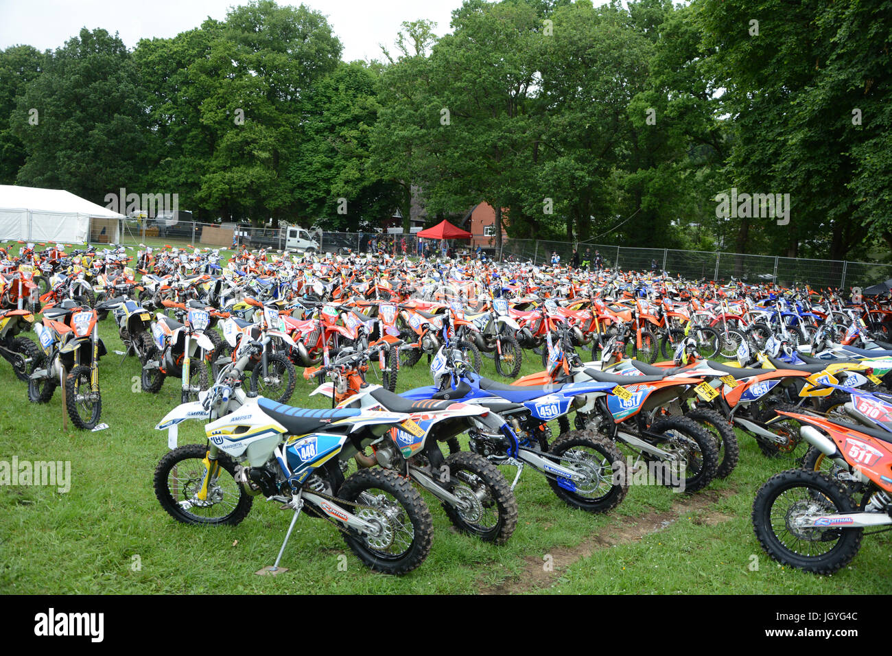 Some of the bikes in Park Ferme at the Welsh 2 Day Enduro race in Llandrindod Wells, Wales - Stock Image