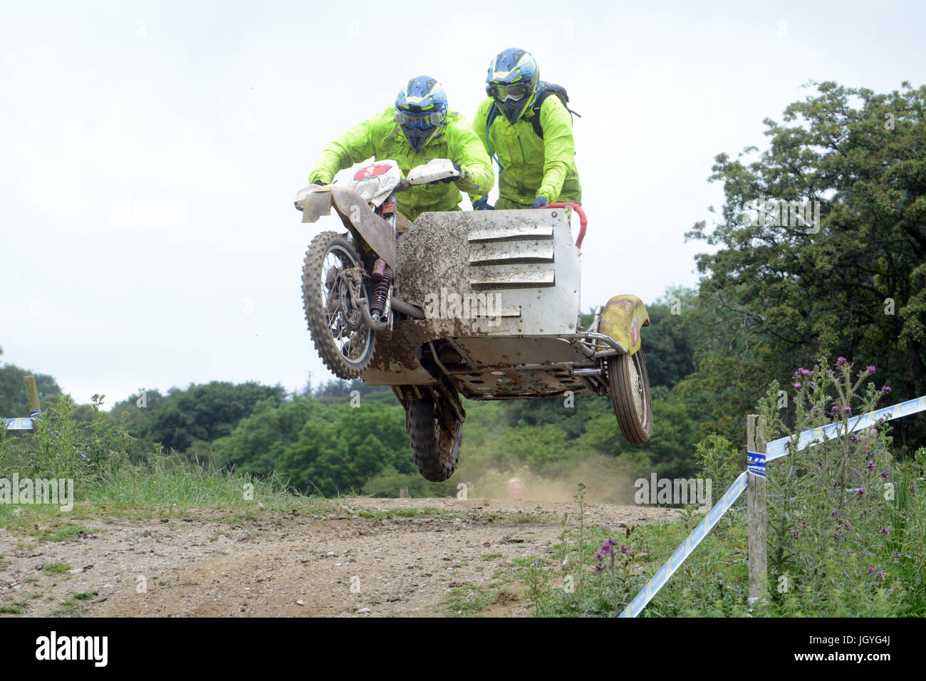 Paul Pelling and Chris Pannell of Guildford competing in the Sidecar championship of the Welsh 2 Day Enduro at llandrindod - Stock Image