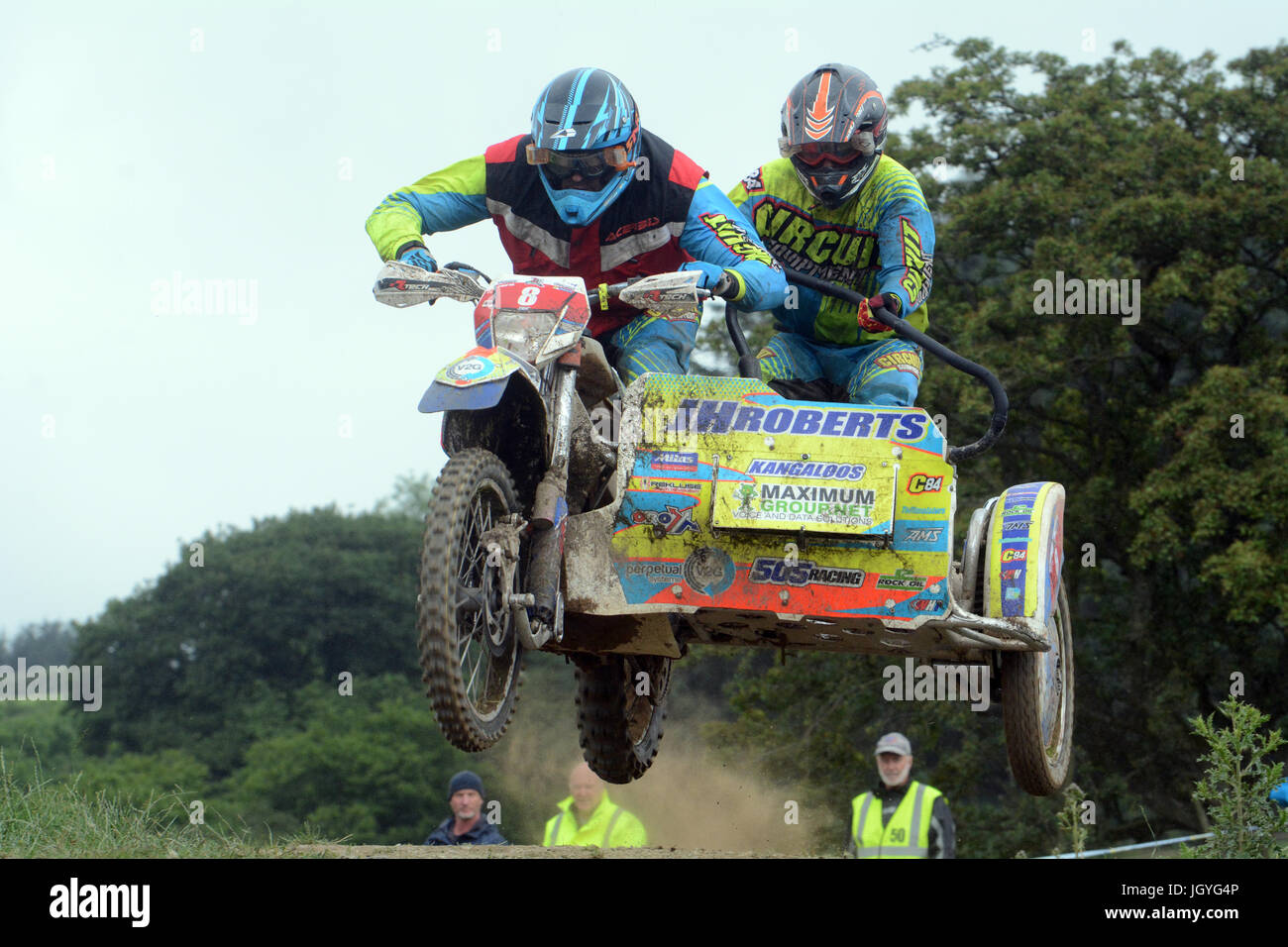 John Aled Evans and Simon Morgan compete in the sidecar championship class at the Welsh 2 Day Enduro in Llandrindod - Stock Image