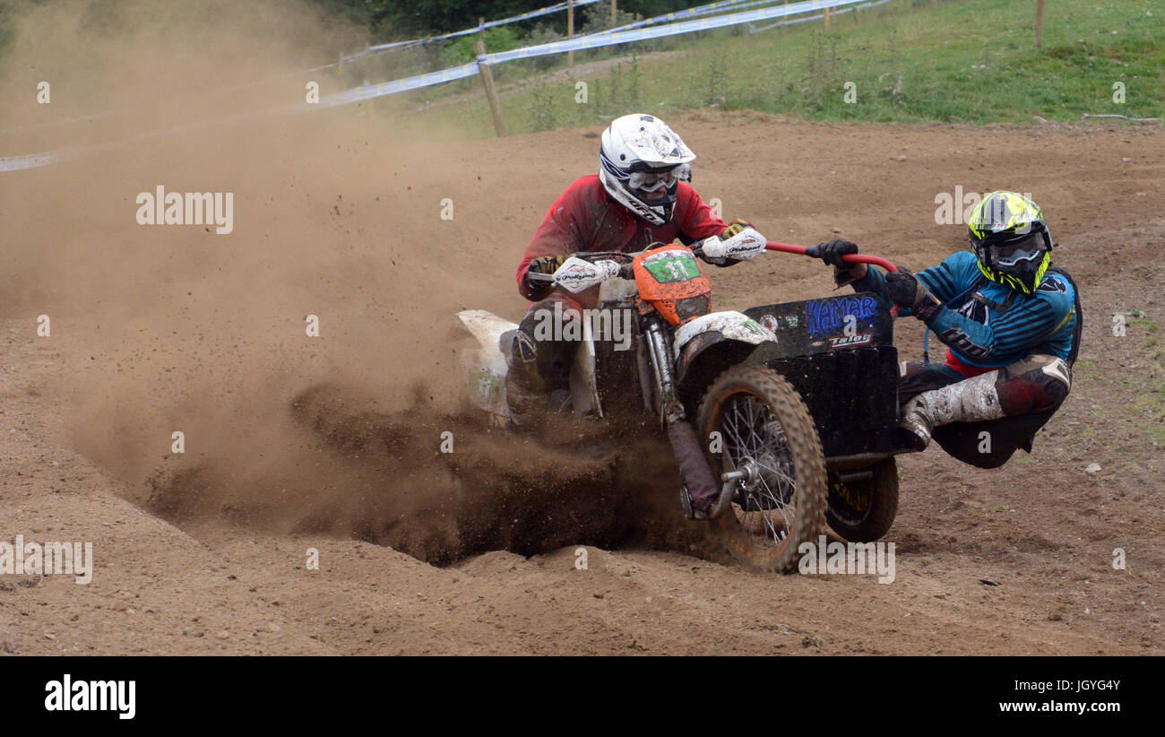 John Rutherford and James Cuff of Bristol competing in the sidecar expert class of the Welsh 2 Day Enduro in Llandrindod - Stock Image