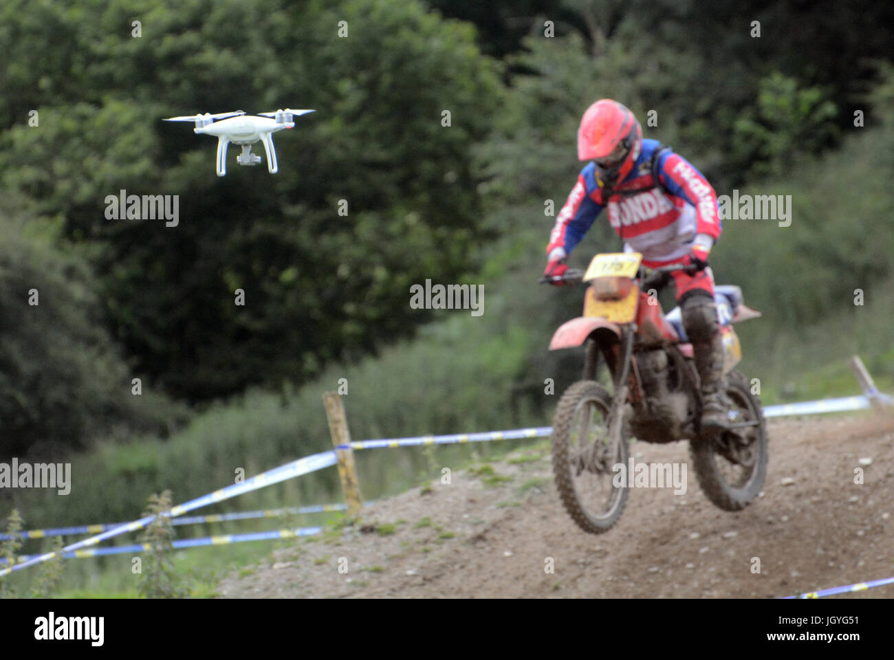 A Drone films the Welsh 2 Day Enduro in Llandrindod Wells , Wales - Stock Image