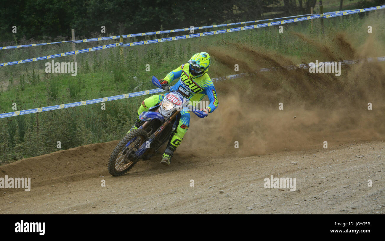 Jamie Lewis competing in the Welsh 2 Day Enduro in Llandrindod Wells. Stock Photo