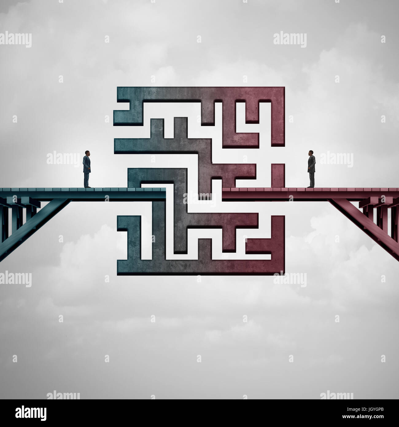 Business meeting challenge and communication solution concept as a bridge with a maze dividing two business people - Stock Image