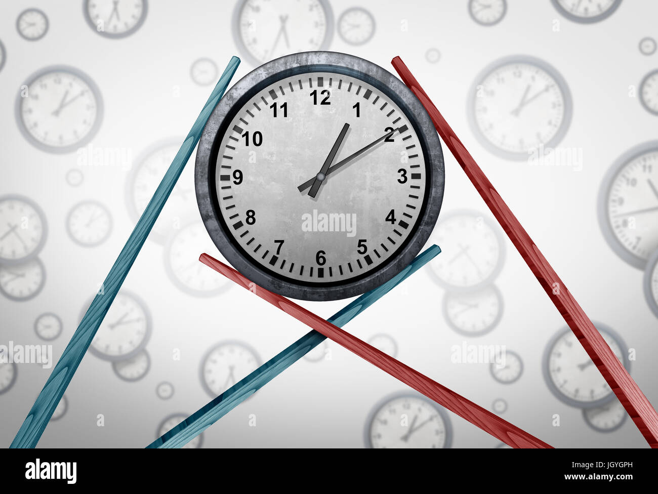 Asia schedule management and Asian time zone coordination as two sets of chopsticks holding a clock together as - Stock Image