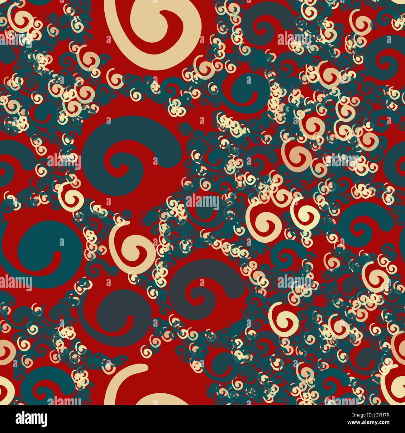 Stylized naive flowers in floral seamless pattern blue on red - Stock Vector