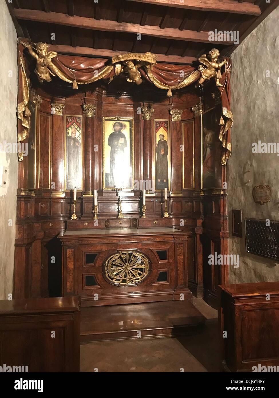 The stone where San Francesco was sleeping in the Church of San Francesco in Ripa in Trastevere, Rome, Italy - Stock Image