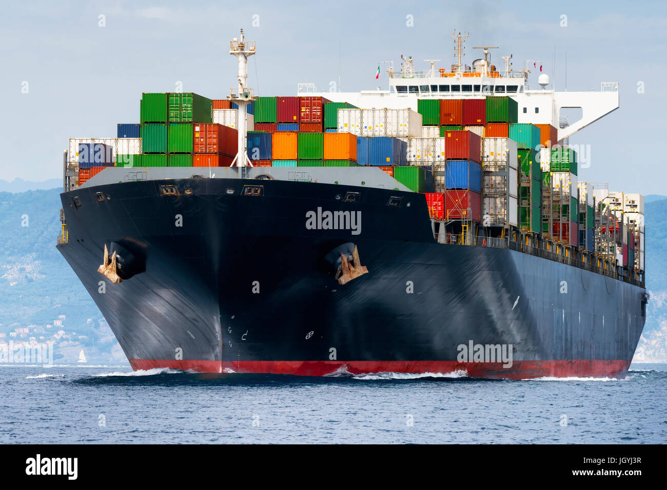 International Container Cargo ship, Freight Transportation fit shipping concept - Stock Image