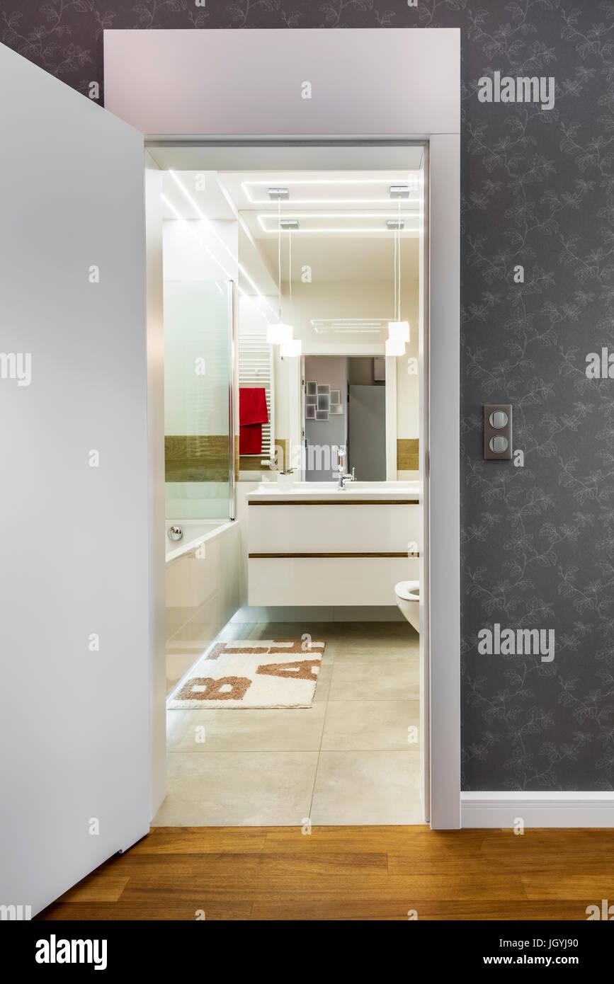Open Doors To Modern Bathroom Interior Design Stock Photo Alamy