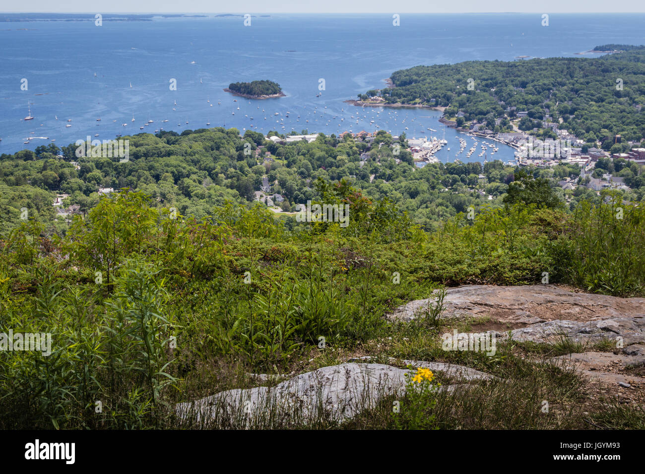 Scenic view of Camden Harbor from Mount Battie at Camden Hills State Park, Maine - Stock Image