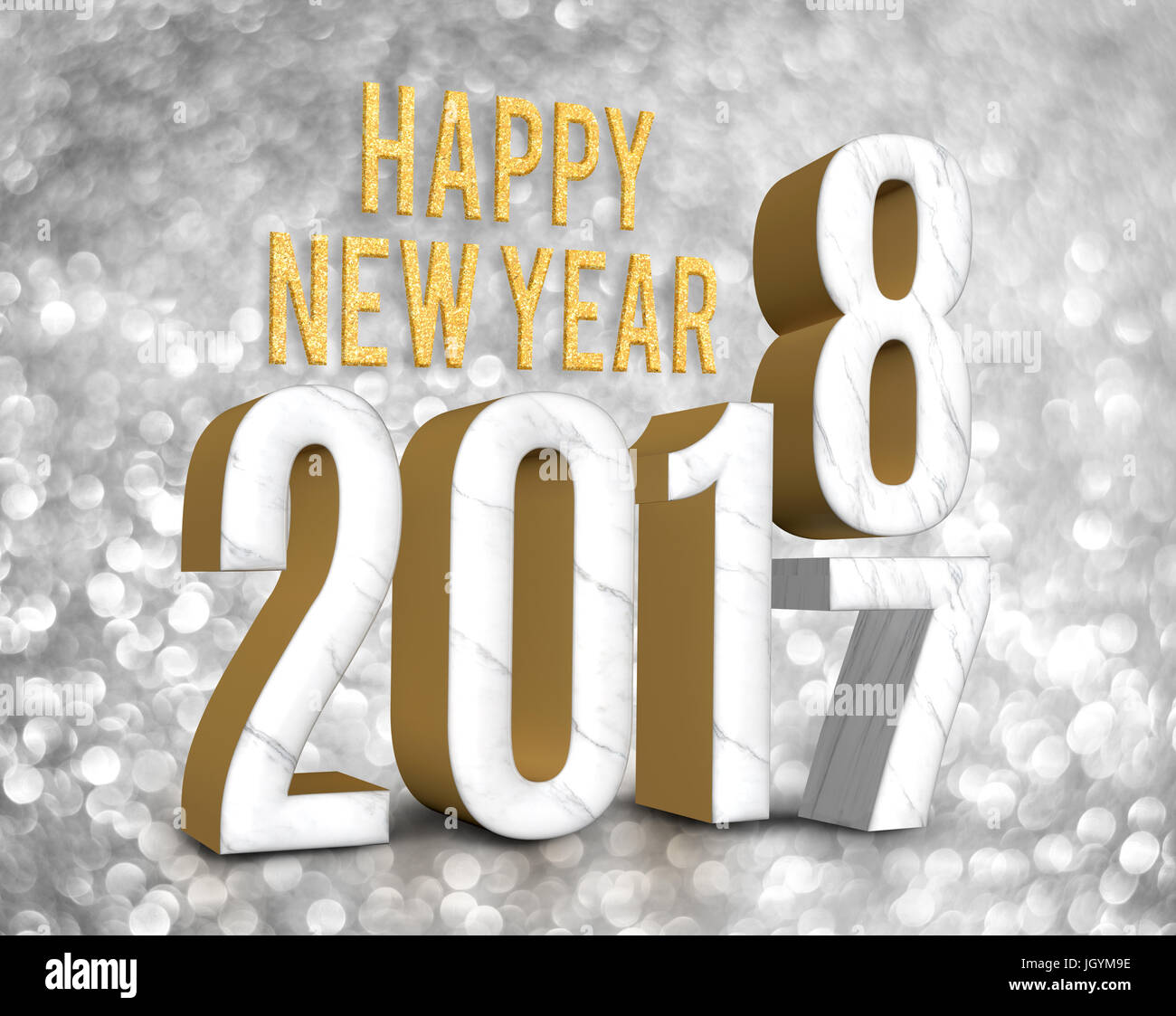 Happy New Year 2018 (3d Rendering) Change Year From 2017 On Silver Glitter  Bokeh Lights Background,New Year And Christmas Greeting Card.
