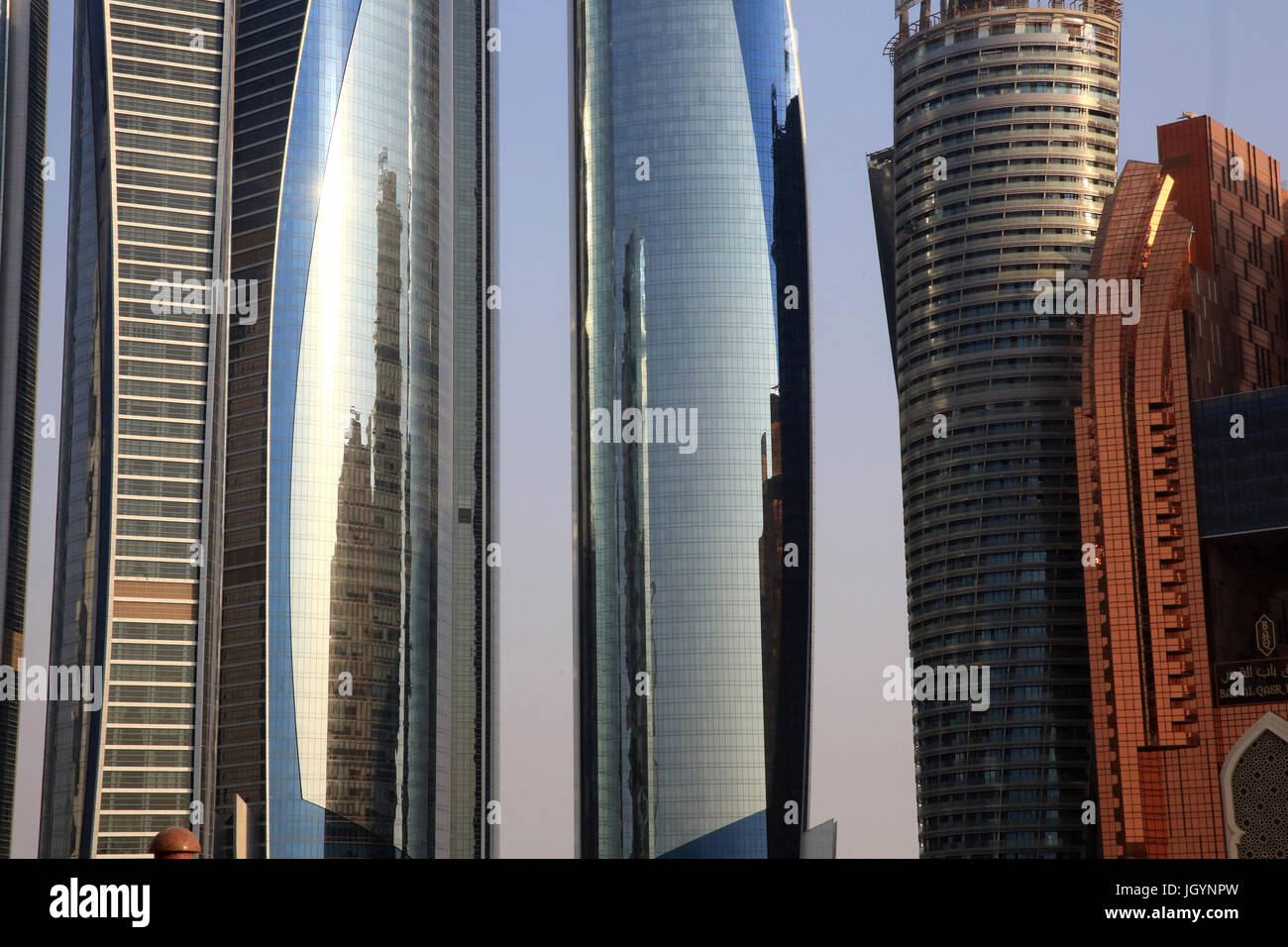 Etihad Towers building complex. Jumeirah. 2007-2011. Emirate of Abu Dhabi. Stock Photo