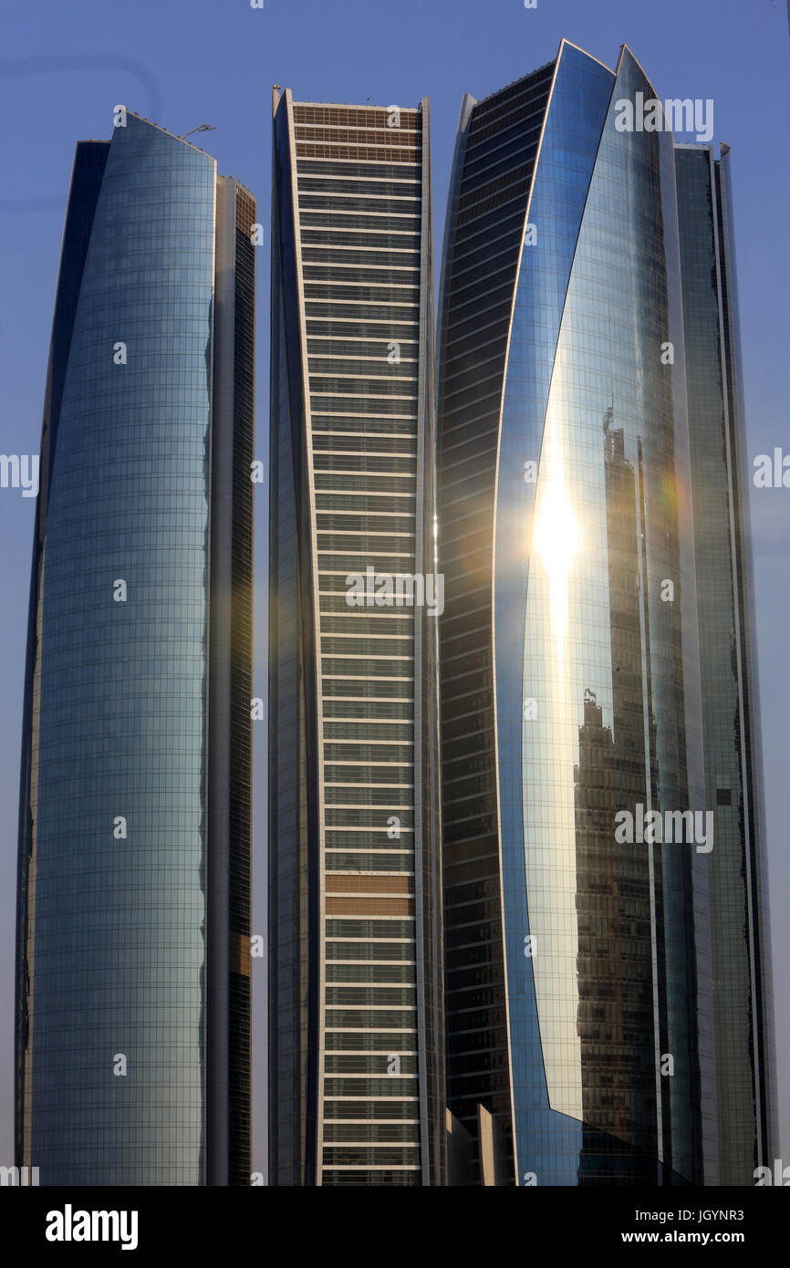 Etihad Towers building complex. Jumeirah. 2007-2011. Emirate of Abu Dhabi. - Stock Image