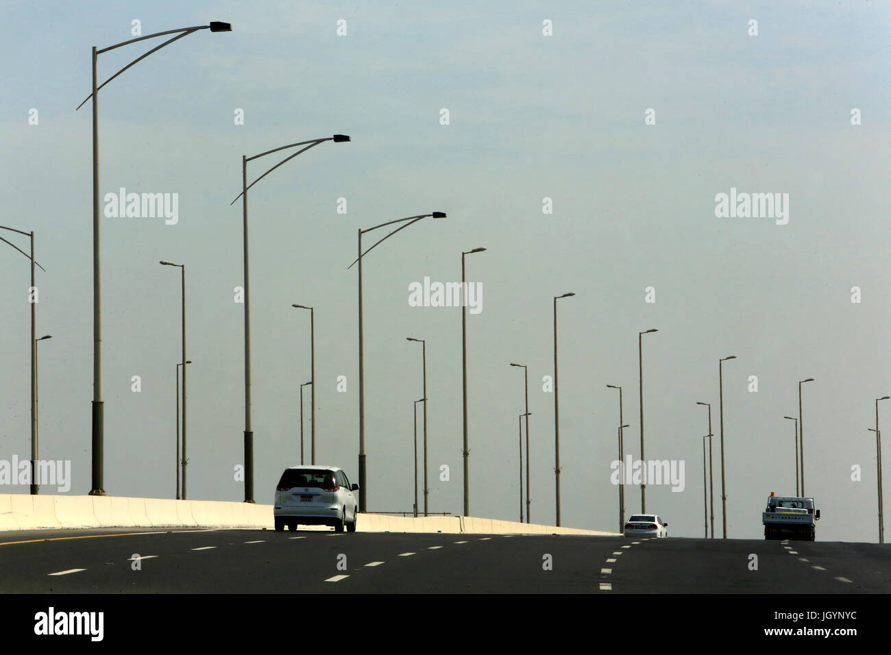 Traffic. Sheikh Zayed Bridge. 2003-2010. Work of the Iraqi-British architect Zaha Hadid. Sheikh Zayed Bridge. 2003 Stock Photo