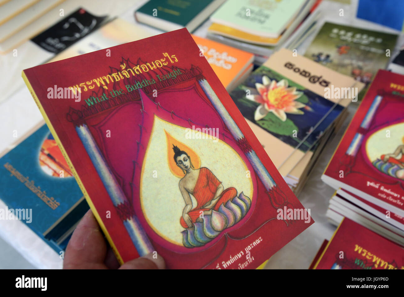 Buddhist books. The Buddha and his teachings.  Geneva. Switzerland. - Stock Image