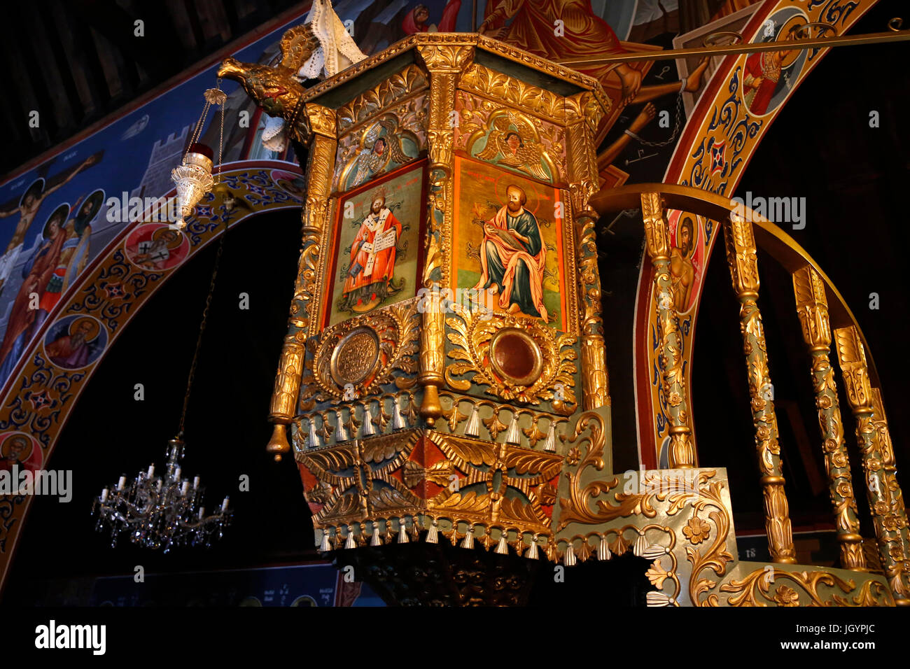 Troodithissa monastery church pulpit. Cyprus. - Stock Image